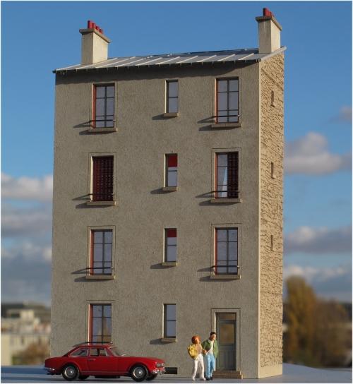 Maison de ville R+3 étroite – Echelle HO
