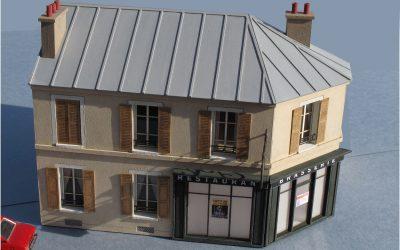 Maison de ville angle pan coupé R+1 DEMI PROFONDEUR – Echelle HO