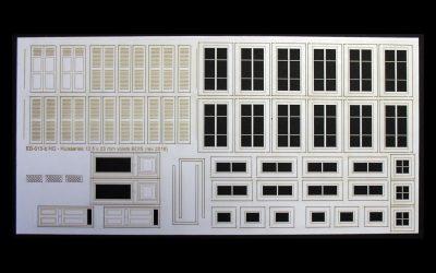 Fenêtres, volets et portes pour maison de ville (grande) – Echelle HO