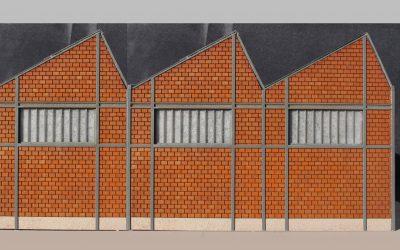Usine shed briques creuses (faible profondeur) – Echelle HO