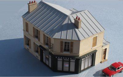 Maison de ville angle pan coupé R+1 – Echelle HO