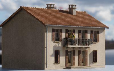 Pavillon de banlieue (Grand modèle) R+1 avec balcon – Echelle HO
