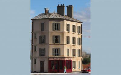 Immeuble de ville R+3 angle – Echelle HO