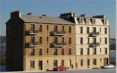 Immeuble de ville Haussmannien R+3 pierre et brique – Echelle HO